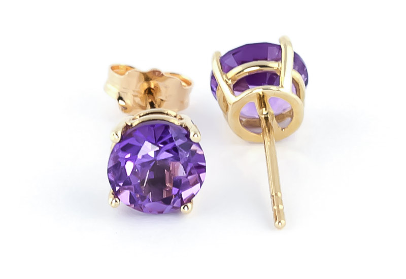 Amethyst Stud Earrings 3.1ctw in 14K Gold