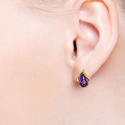 Amethyst and Diamond Stud Earrings 3.1ctw in 14K Gold
