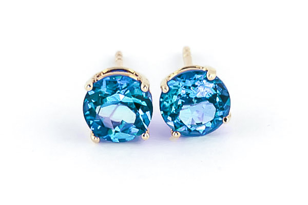 Blue Topaz Stud Earrings 3.1ctw in 14K Gold