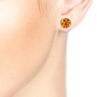 Citrine Stud Earrings 3.1ctw in 9ct Gold