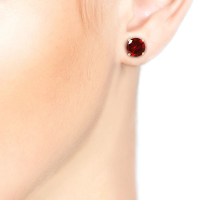 Garnet Stud Earrings 3.1ctw in 14K Gold