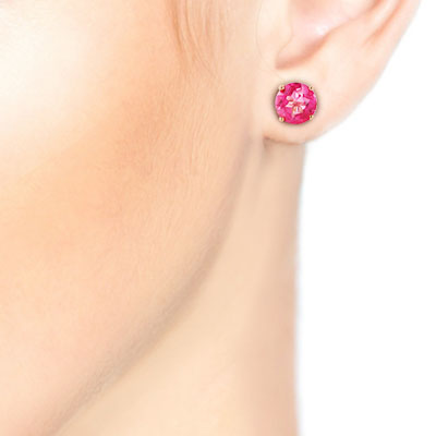 Pink Topaz Stud Earrings 3.1ctw in 9ct Gold