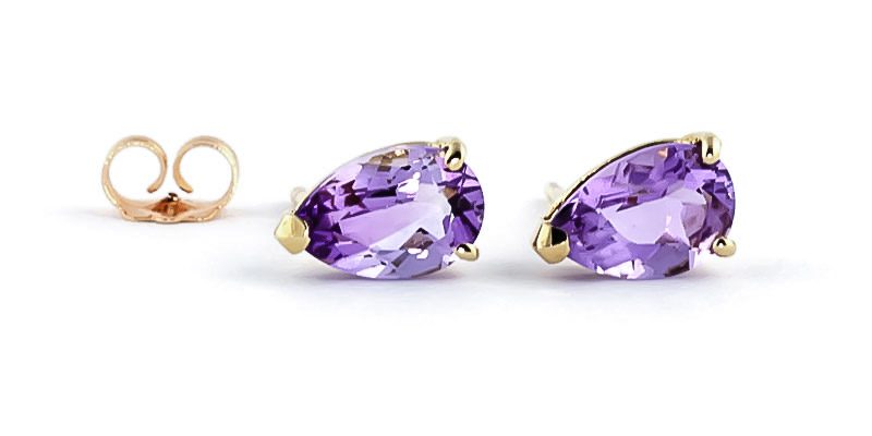 Amethyst Stud Earrings 3.15ctw in 9ct Gold