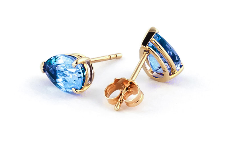 Blue Topaz Stud Earrings 3.15ctw in 14K Gold