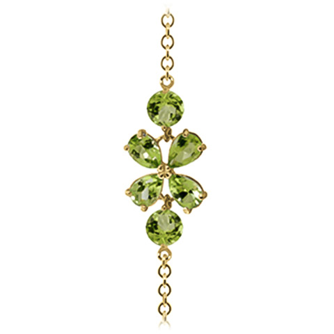 Pear Cut Peridot Adjustable Bracelet 3.15ctw in 14K Gold