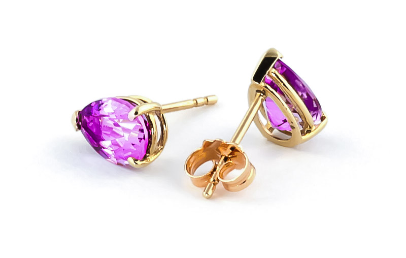 Pink Topaz Stud Earrings 3.15ctw in 14K Gold