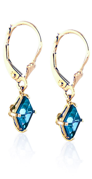 Blue Topaz Drop Earrings 3.2ctw in 14K Gold