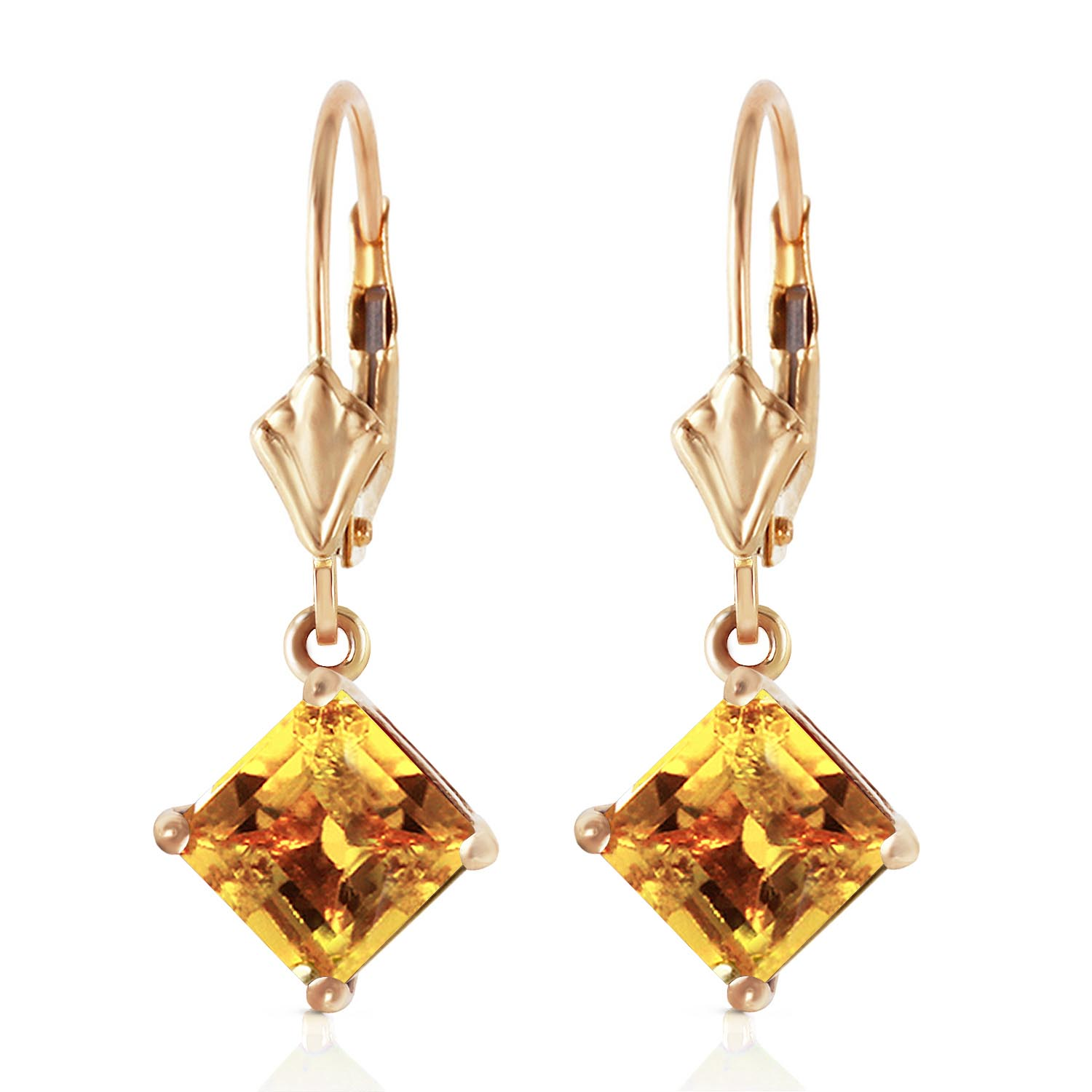 Citrine Drop Earrings 3.2ctw in 9ct Gold
