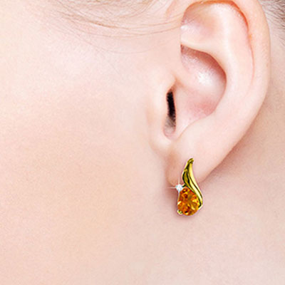 Citrine and Diamond Stud Earrings 3.2ctw in 14K Gold