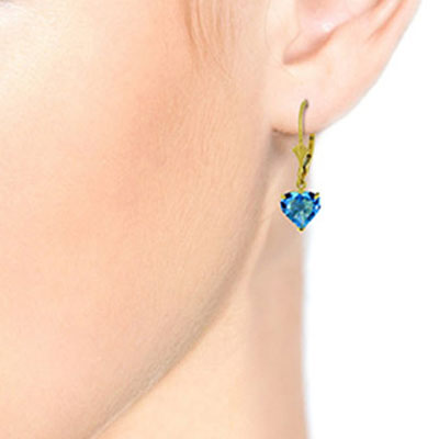 Blue Topaz Heart Drop Earrings 3.25ctw in 9ct Gold