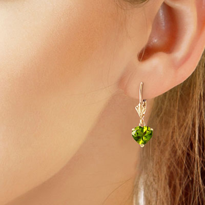 Peridot Heart Drop Earrings 3.25ctw in 14K Gold