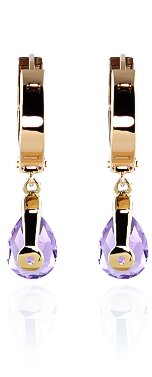 Amethyst Huggie Drop Earrings 3.3ctw in 14K Gold