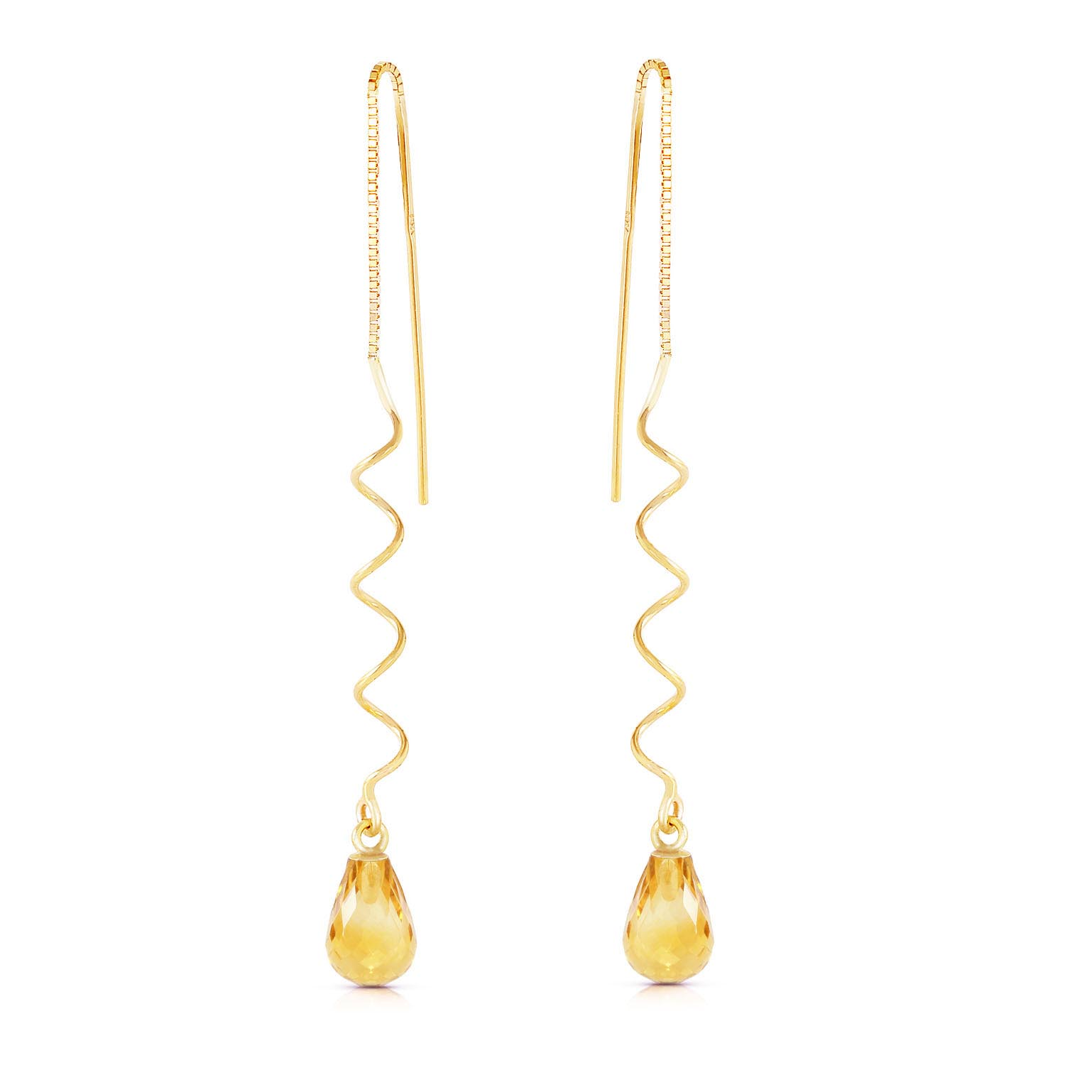 Citrine Spiral Scintilla Briolette Earrings 3.3ctw in 9ct Gold