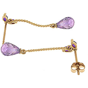 Amethyst Teardrop Briolette Earrings 3.4ctw in 9ct Gold