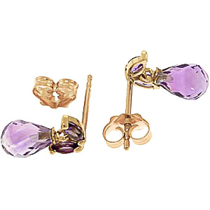 Amethyst Snowdrop Briolette Stud Earrings 3.4ctw in 9ct Gold