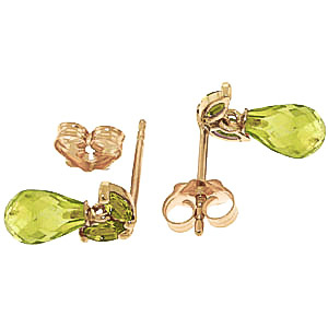 Peridot Snowdrop Briolette Stud Earrings 3.4ctw in 14K Gold