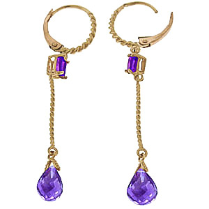 Amethyst Twist Drop Earrings 3.5ctw in 9ct Gold