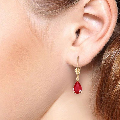 Ruby Belle Drop Earrings 3.5ctw in 9ct Gold