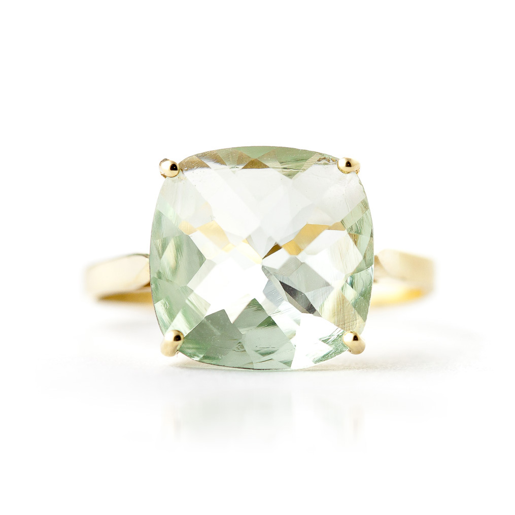 Green Amethyst Rococo Ring 3.6ct in 9ct Gold