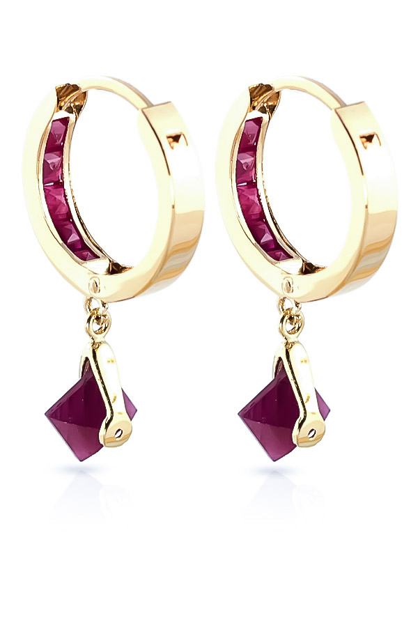 Ruby Earrings 3.7ctw in 14K Gold