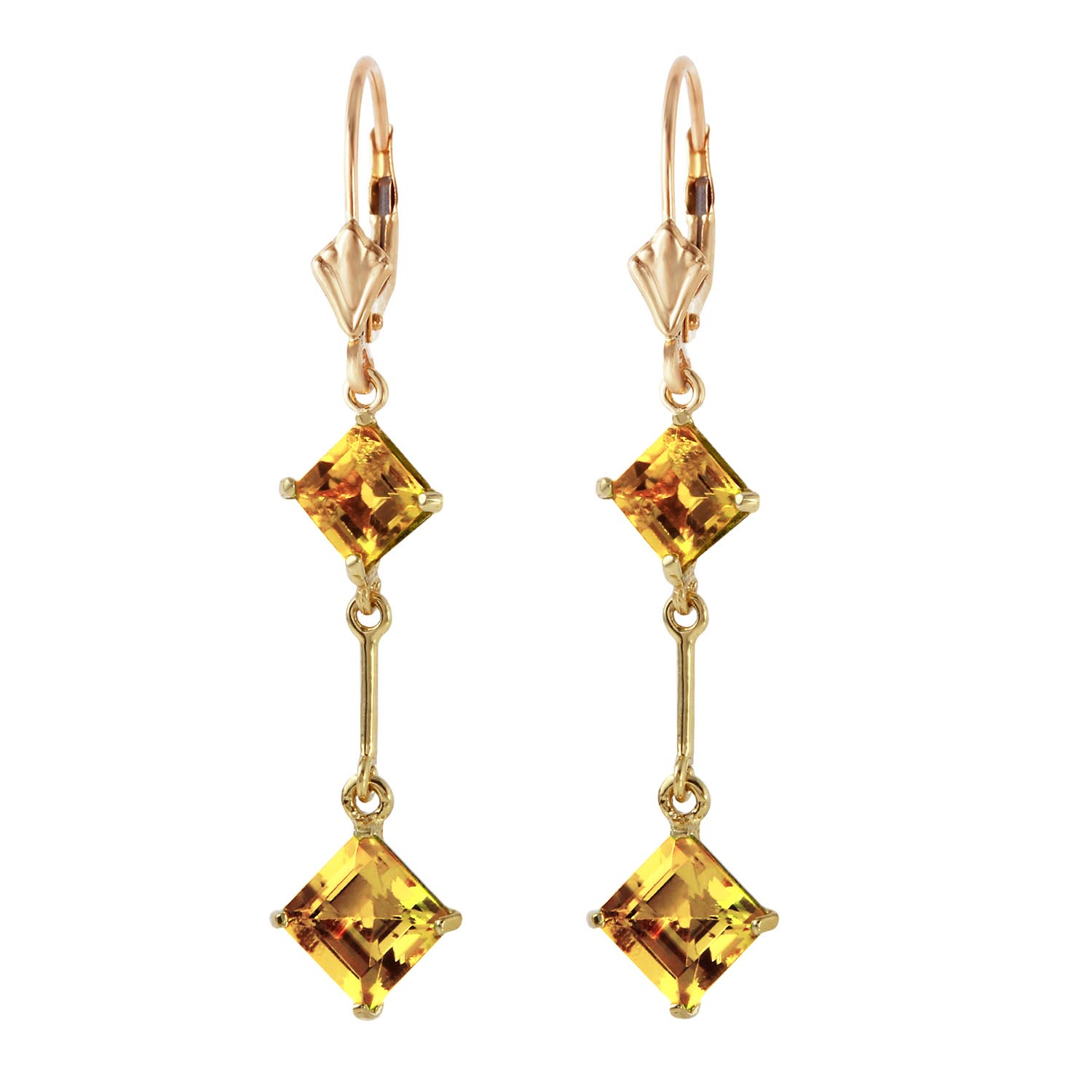 Citrine Two Tier Drop Earrings 3.75ctw in 9ct Gold