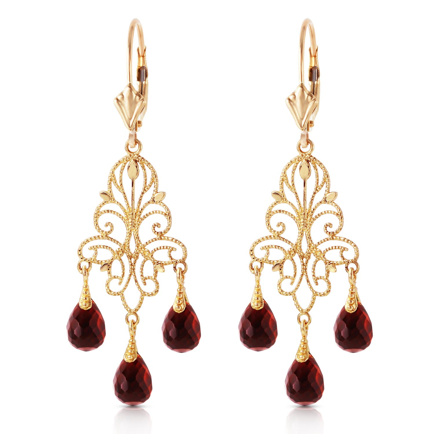 Garnet Mirage Briolette Drop Earrings 3.75ctw in 9ct Gold
