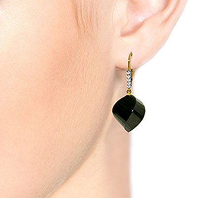 Black Spinel and Diamond Drop Earrings 31.0ctw in 14K Gold