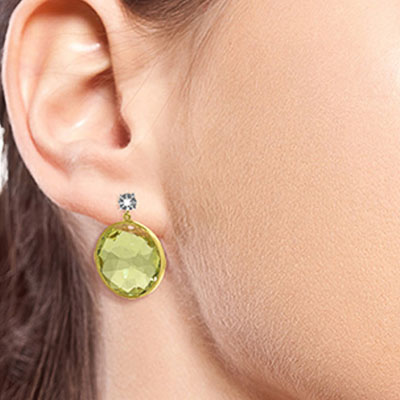 Lemon Quartz and Diamond Stud Earrings 34.0ctw in 14K Gold