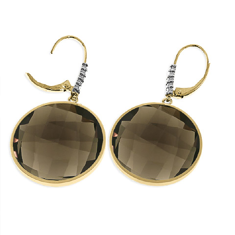 Smoky Quartz and Diamond Drop Earrings 34.0ctw in 14K Gold