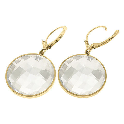 White Topaz Drop Earrings 36.0ctw in 9ct Gold