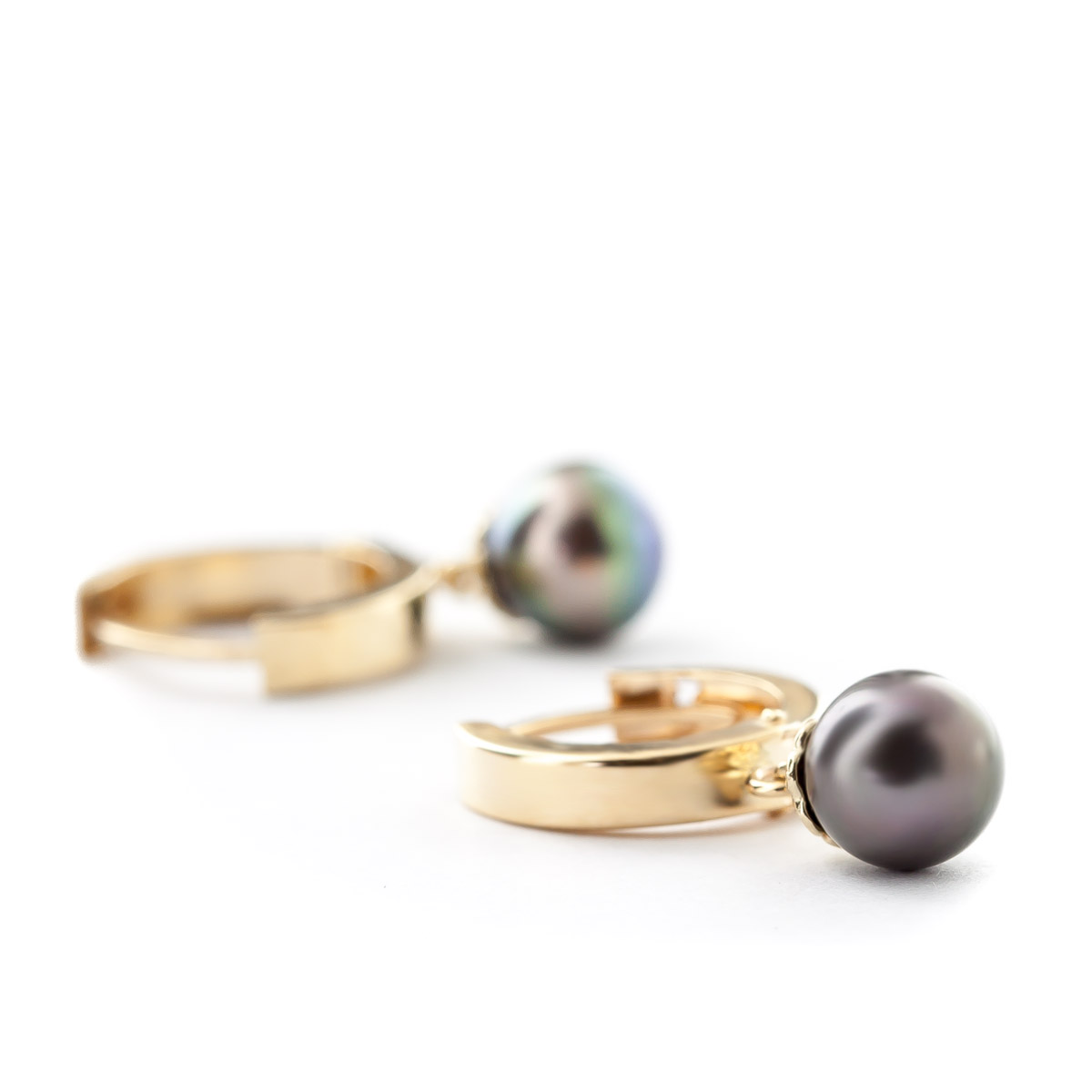 Black Pearl Drop Earrings 4.0ctw in 14K Gold