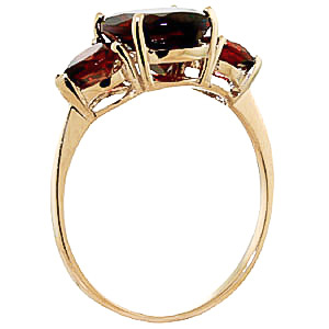Garnet Three Stone Ring 4.1ctw in 9ct Gold