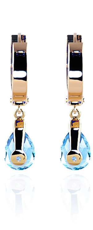 Blue Topaz Huggie Drop Earrings 4.2ctw in 9ct Gold