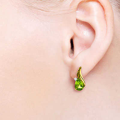 Peridot and Diamond Stud Earrings 4.2ctw in 9ct Gold