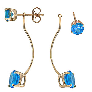 Blue Topaz Lure Drop Earrings 4.3ctw in 9ct Gold
