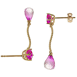 Pink Topaz Lure Drop Earrings 4.3ctw in 9ct Gold