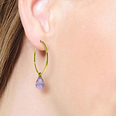 Amethyst Briolette Earrings 4.5ctw in 14K Gold