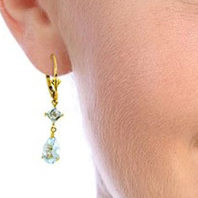 Aquamarine Droplet Earrings 4.5ctw in 9ct Gold