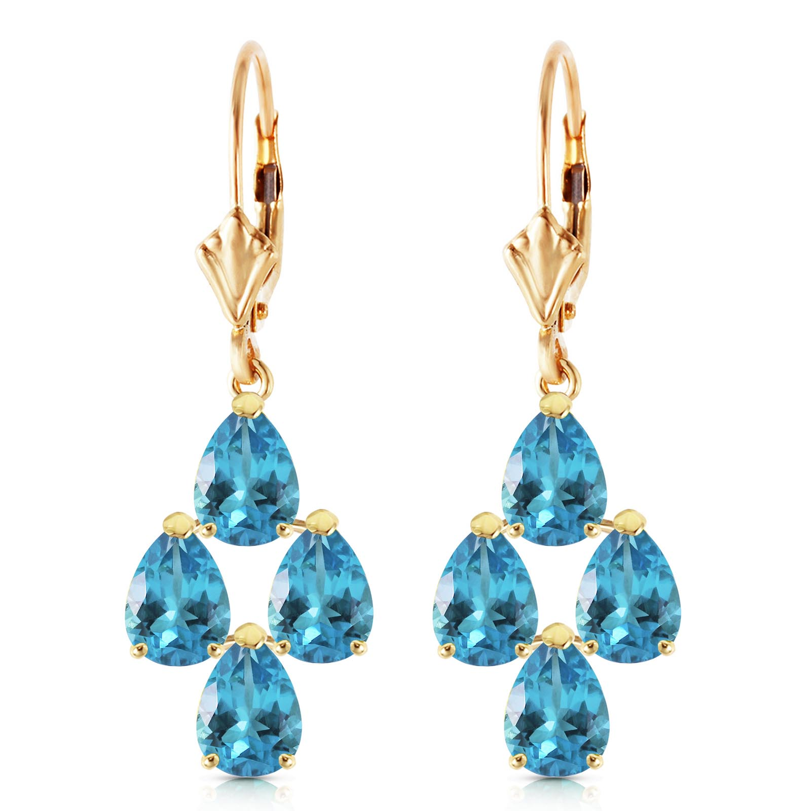 Blue Topaz Drop Earrings 4.5ctw in 14K Gold