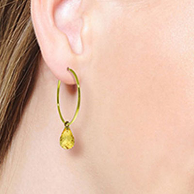 Citrine Briolette Earrings 4.5ctw in 14K Gold