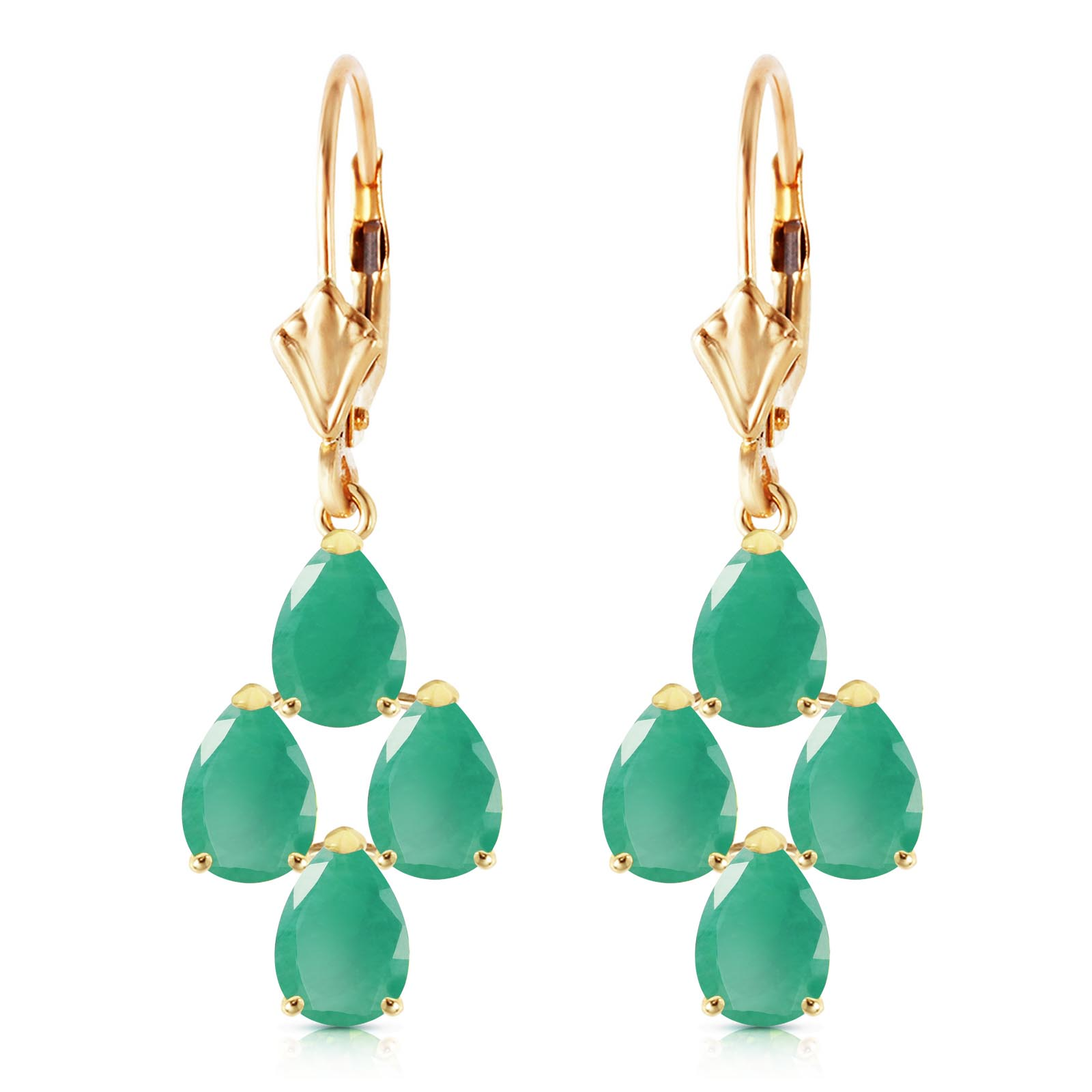 Emerald Drop Earrings 4.5ctw in 9ct Gold