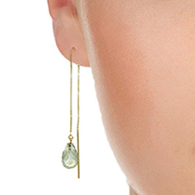 Green Amethyst Scintilla Briolette Earrings 4.5ctw in 9ct Gold