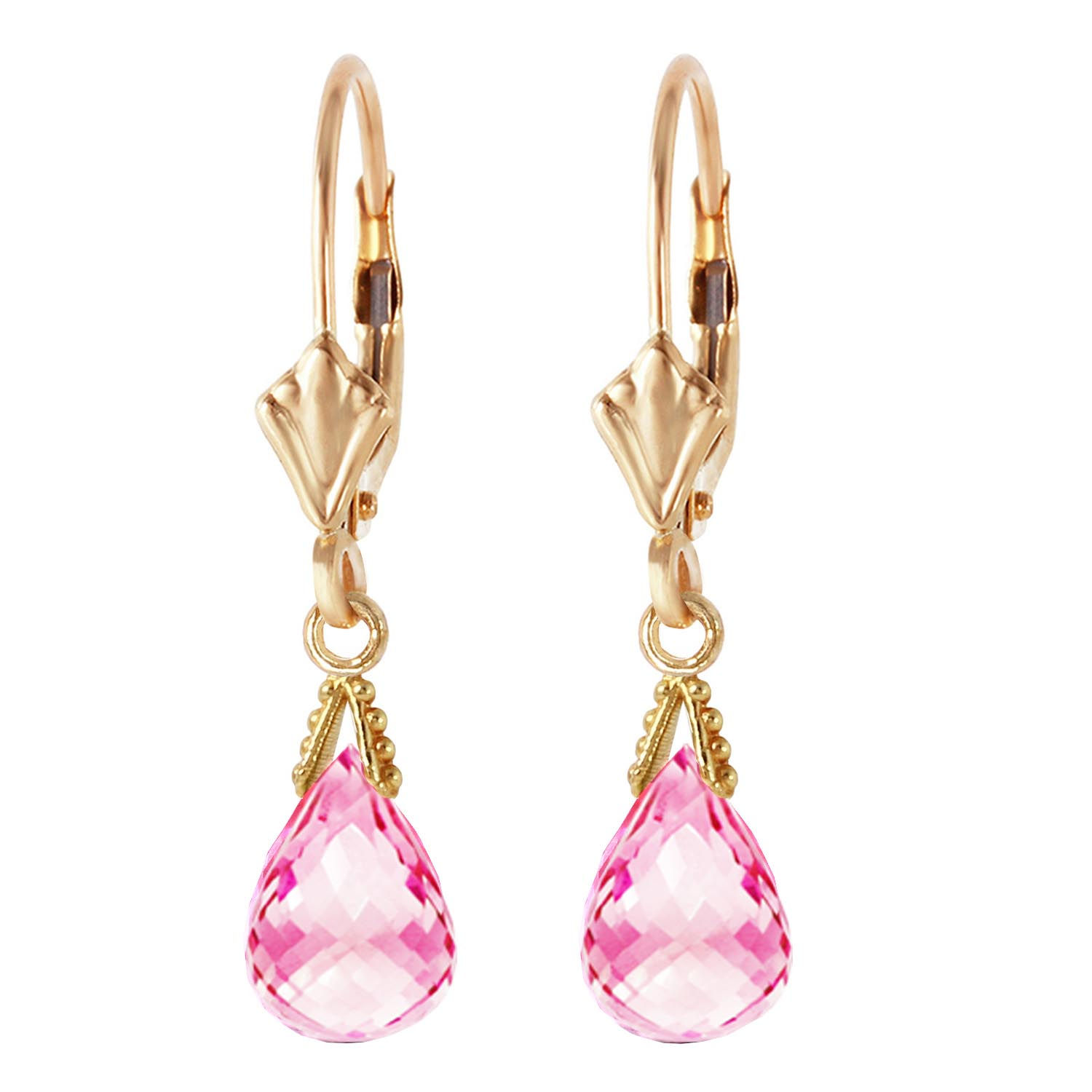 Pink Topaz Droplet Briolette Earrings 4.5ctw in 14K Gold