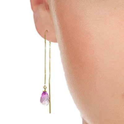 Pink Topaz Scintilla Briolette Earrings 4.5ctw in 9ct Gold