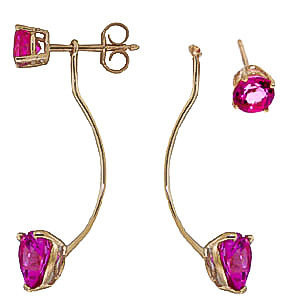 Pink Topaz Lure Drop Earrings 4.55ctw in 9ct Gold