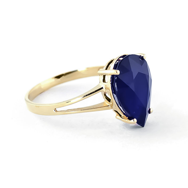 Pear Cut Sapphire Ring 4.65ct in 9ct Gold