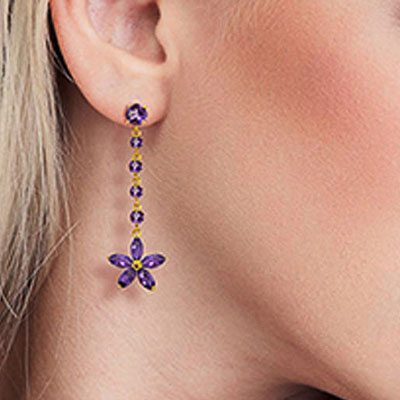 Amethyst Daisy Chain Drop Earrings 4.8ctw in 9ct Gold