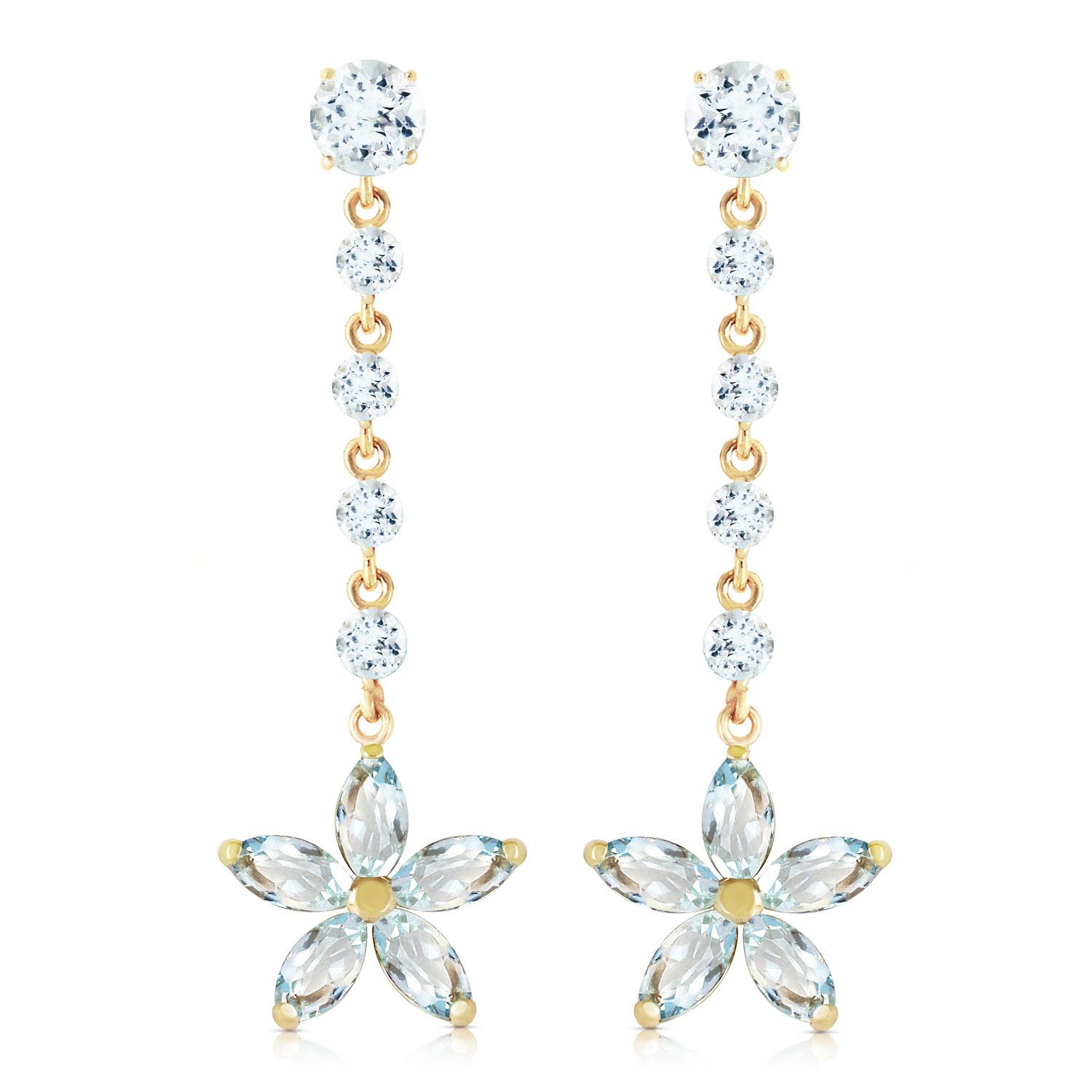 Aquamarine Daisy Chain Drop Earrings 4.8ctw in 9ct Gold