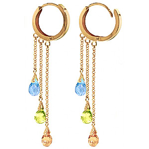 Gemstone Trilogy Droplet Briolette Earrings 4.8ctw in 9ct Gold