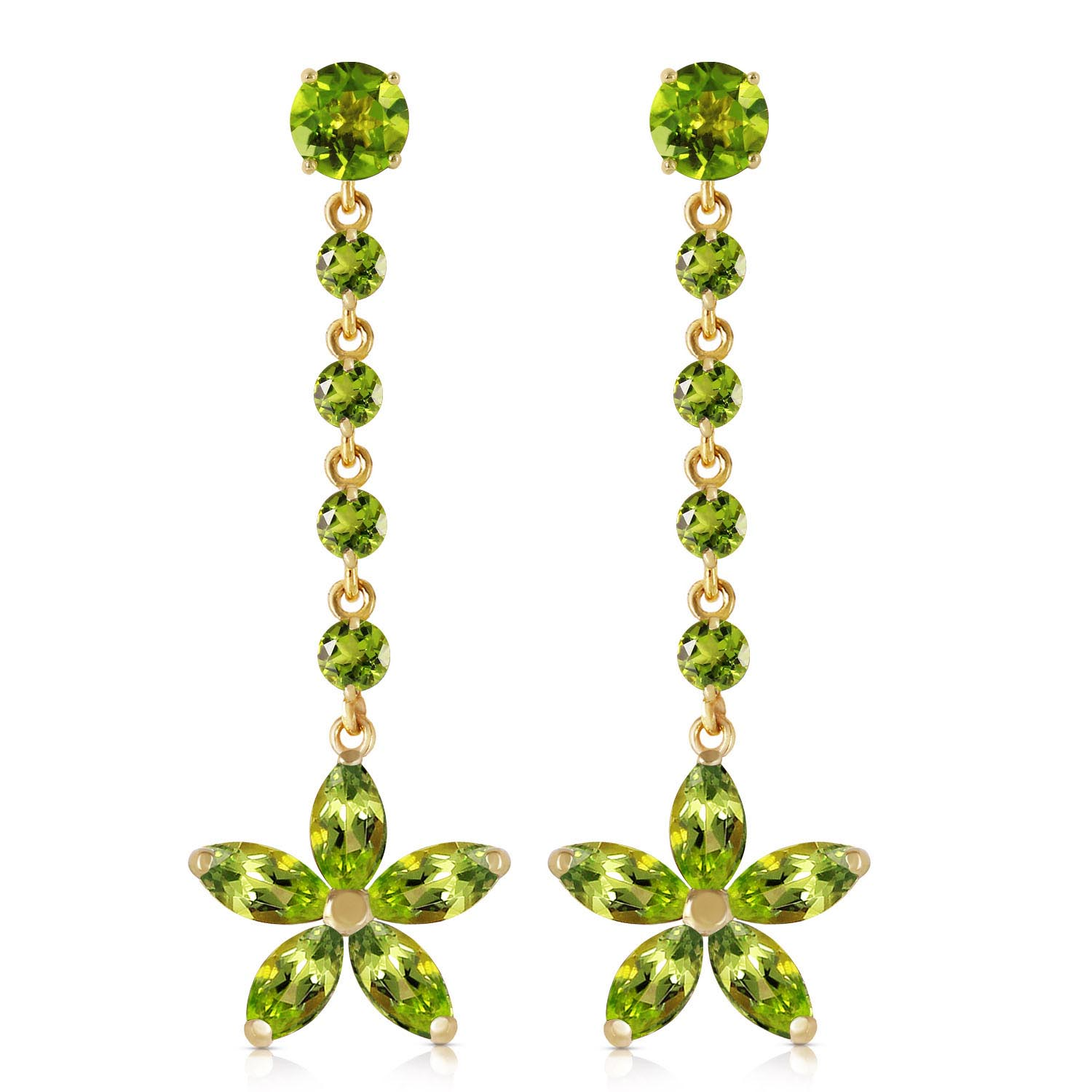 Peridot Daisy Chain Drop Earrings 4.8ctw in 9ct Gold